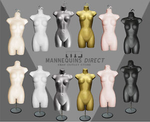 QUALITY FEMALE MANNEQUIN TORSO BODY FORM DISPLAY BUST WITH HANGING//STAND OPTIONS