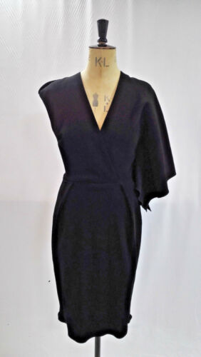 Blend 40 Wool Salope Asymmetric With Black Size Sleeve Medium Petite La Dress RfUq1q4