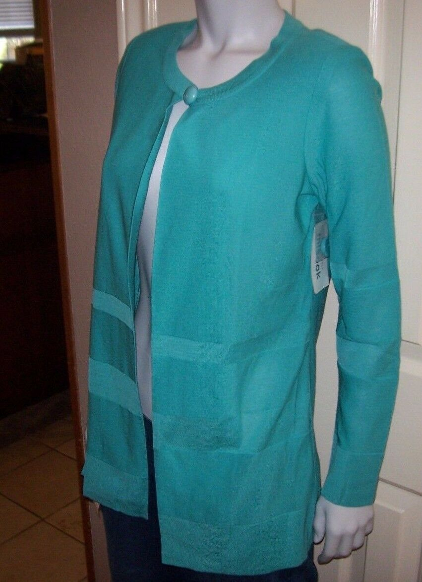 NEW Exclusively MISOOK turquoise aqua Long sweater open one button XS X Small