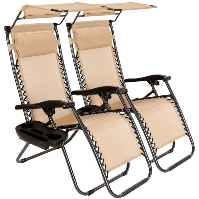 2 PCS Zero Gravity Chairs Patio Outdoor Folding Lounges W/Canopy U0026 Cup  Holders