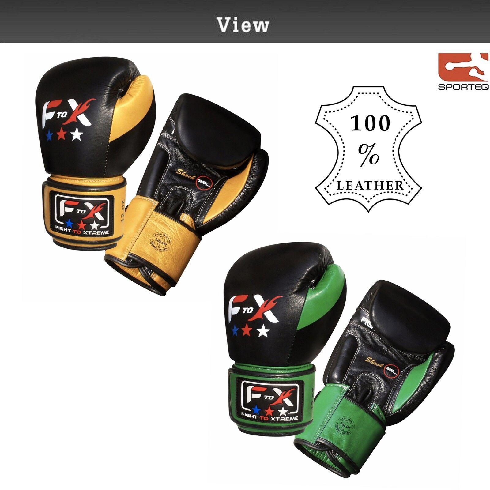 SPORTEQ F2X Vera Pelle Professional Boxing Sparring Guanti Muay Thai Allenamento
