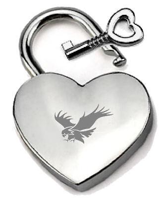 Intelligent Silbern Herz Vorhängeschloss Optionel Nachricht Kiste Raubvogel Graviert 100% Garantie