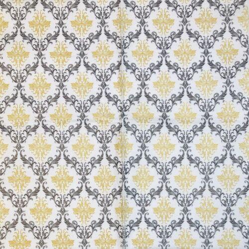 3 x Single Paper Napkins For Decoupage Black Gold Ornament Pattern On White M461