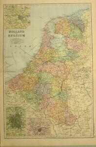 Karte Von Holland Und Belgien.Details Zu 1894 Karte Holland Belgien Amsterdam Brussel Antwerpen Brabant Flandern Haag