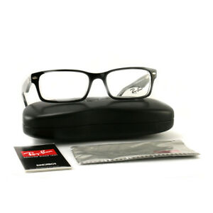 fd7558233d RayBan Eyeglasses RX5206 2034 Top Black on Crystal Plastic Rectangle ...