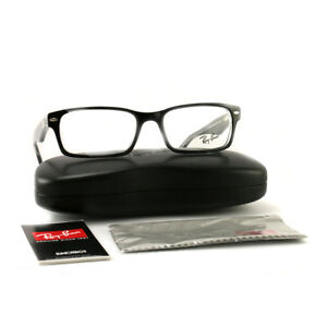 2cd9bf1a48 Details about RayBan Eyeglasses RX5206 2034 Top Black on Crystal Plastic  Rectangle 54 18 145