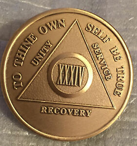Alcoholics-Anonymous-34-Year-Recovery-Coin-Chip-Medallion-Medal-Token-AA-Bronze