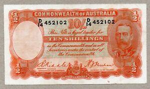 1936 AUSTRALIAN Riddle/Sheehan Ten Shillings George V g VFINE CRISP  D/14 452102