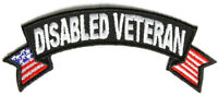 Disabled Veteran Small Rocker Iron On Patch 4 X1.5 Free Ship Military P1555