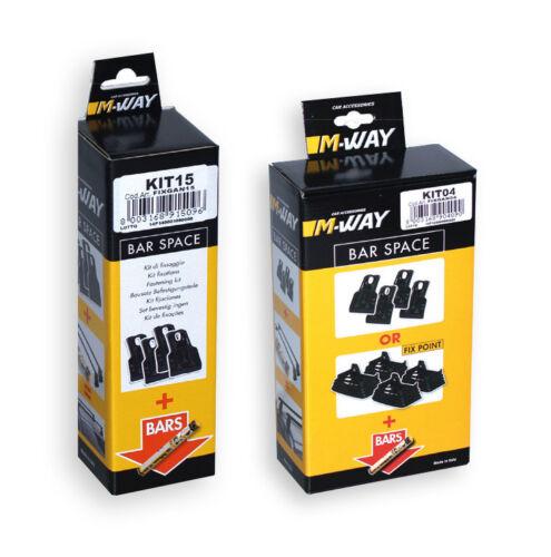 M-Way Negro Acero Baca Barras cruzadas rail para caber AUDI A4 00-07 Kit de fijación 15
