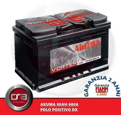 BATTERIA AUTO AKUMA KOMFORT = FIAMM 80 AH 12V 680A EN ORIGINALE ALFA ROMEO 146