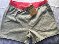 Girls Lands End 10 12 M Gray Knit Shorts Pink Medium