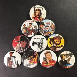 Clint-Eastwood-1-034-Button-Pin-Set-Dirty-Harry-Actor-Icon-Unforgiven-Sudden-Impact