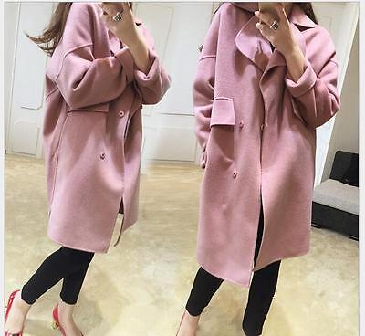 womens coats loose woolen winter warm cashmere lapel Long Fashion jacket overcoa