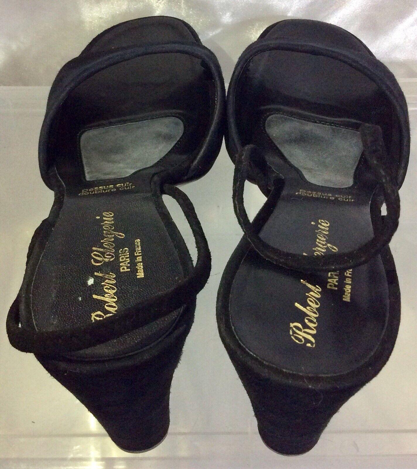 ROBERT CLERGERIE Black Nubuck Nubuck Nubuck Leather Slingback Heels Sandals Women's sz 8.5AA afb61d