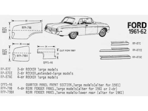 Ford Large Car Rear Quarter 1//4 Panel Driver Side Left 1961-1962 Schott