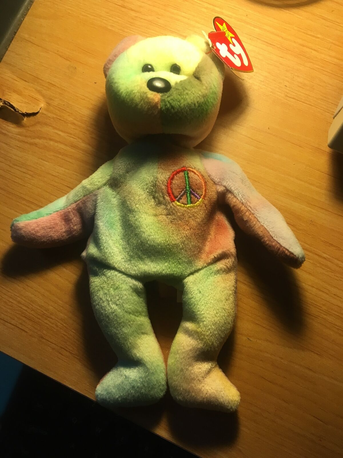 UNIQUE UNIQUE UNIQUE RARE  TY Peace Bear Beanie Baby with All TAG ERRORS MWMT a42dd4