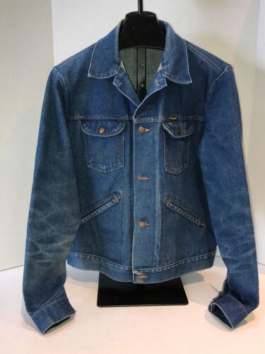 Vtg 70\u2019s Denim Jacket Wrangler No Fault Sanfor Set Western Distressed Sz L Free Shipping USA.