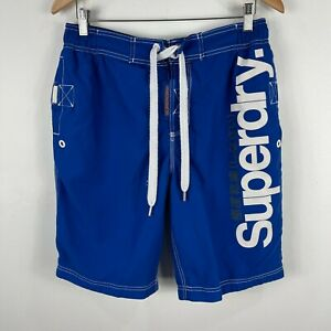 Superdry-Mens-Board-Shorts-Asian-Size-Large-AUS-S-M-Blue-Drawstring-Pockets