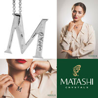 16 Rhodium Plated Necklace W/ m Initial & Crystals By Matashi on sale