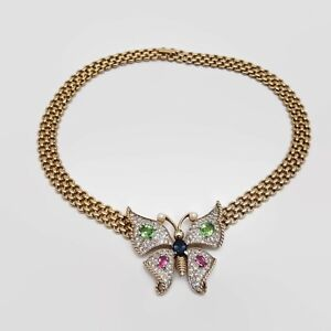 Vintage-Panetta-Sparkling-Pave-Rhinestone-Butterfly-Necklace