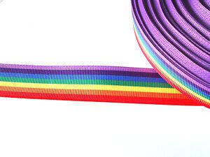 """Arco iris de rayas orgullo Estampado de Cinta de Grogrén 7//8/"""" 22mm Ancho"""