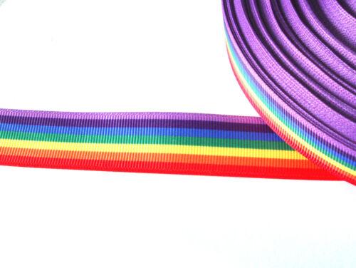 """Rainbow stripes pride printed grosgrain ribbon 7//8/"""" 22mm width"""