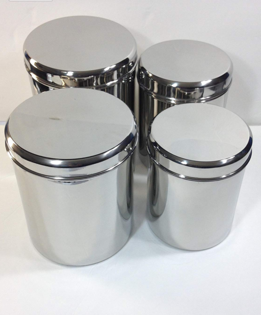 Qualways Jumbo Stainless Steel Kitchen Canister Set of 4( 6.5lb,5lb.4lb and  3lb)