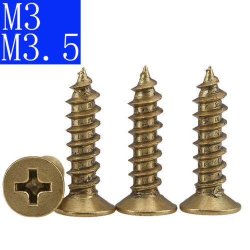 M3 M3.5 Flat Head Phillips Drive Self Tapping Screws Solid Brass Wood Screws