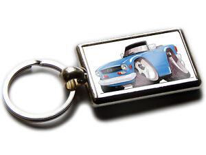 Triumph TR6 Car Rectangle Black Leather Keyring