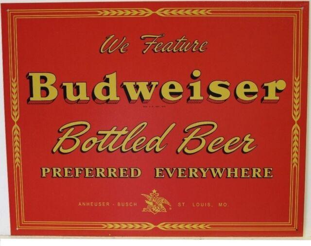 Budweiser Bottled Beer Preferred TIN SIGN vtg metal bar pub ad wall decor 1151