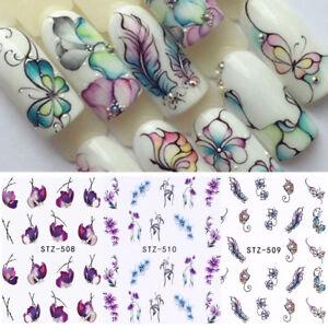 3-Blaetter-Blume-Nail-Art-Wasser-Aufkleber-Blaetter-Schmetterling-Transfer-Sticker