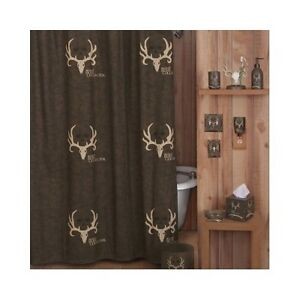 Bone collector shower curtain deer antler bathroom rustic for Hunting bathroom accessories