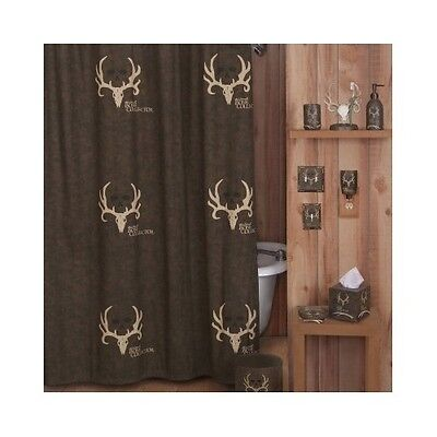 Bone Collector Shower Curtain Hooks Bathroom Deer Hunting Lodge Cabin