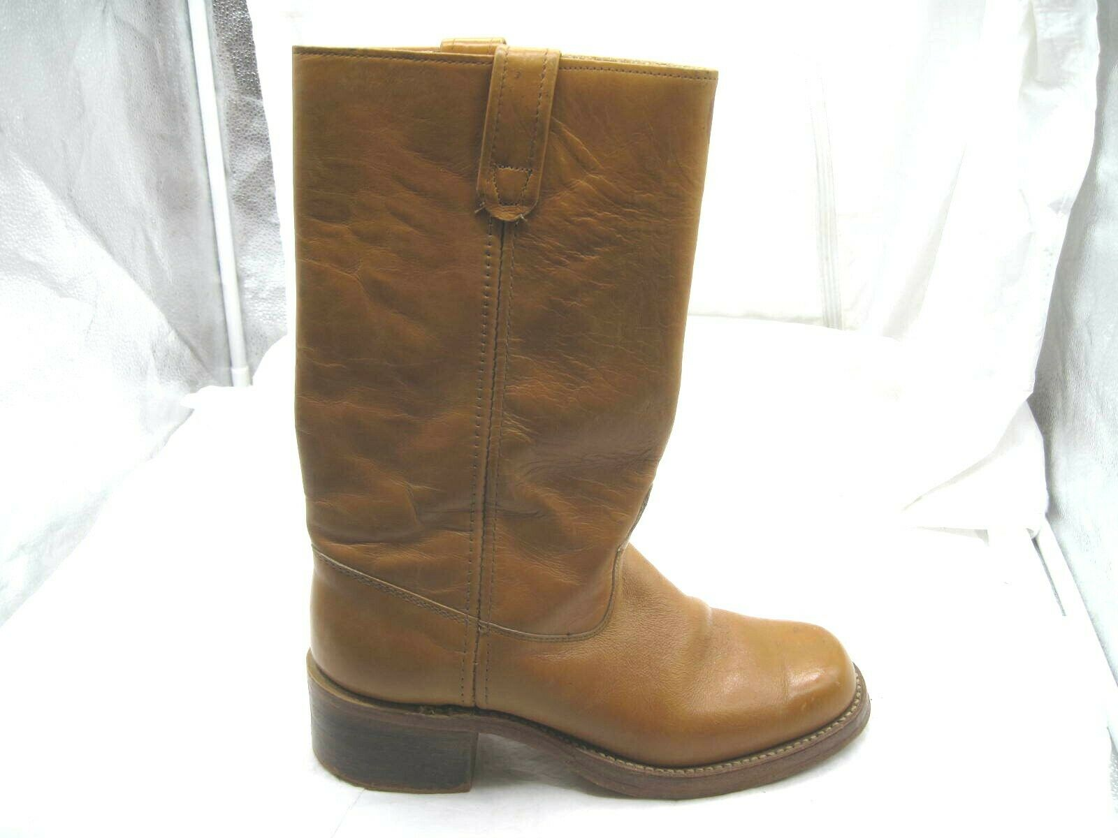 58f207968b36 Vintage Sears tan tan tan brown beige western cowboy Mens 9.5D 42.5 boots  shoes 87533 ...