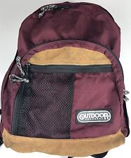 Leather Bottom Backpack Maroon Nylon Outdoor Products Hiking Book Bag Vintage