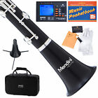 MENDINI Bb CLARINET EBONY WOOD BODY SILVER KEYS W/ TUNER, STAND, CASE MCT-40