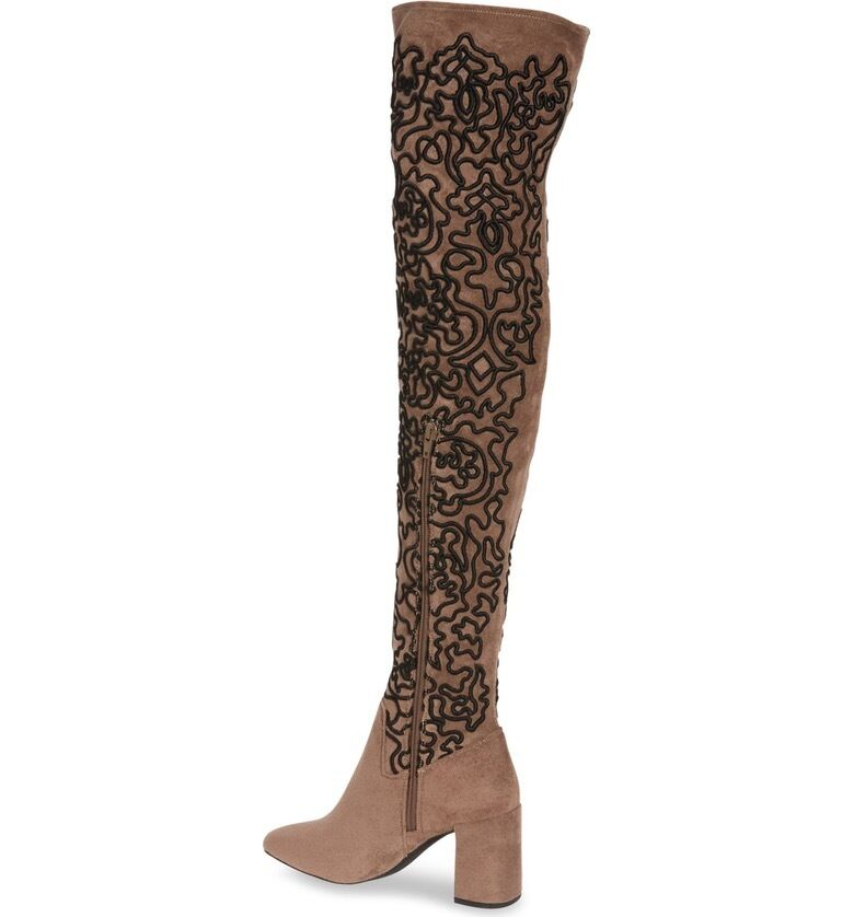 Jeffrey Campbell  Cienega Over Over Over The Knee Boots Grey Suede embroidery sz 6.5 new 83c2f8