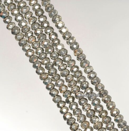 """4X3MM IRON PYRITE  GEMSTONE GRADE AA FACETED RONDELLE 4X3MM LOOSE BEADS 15.5/"""""""