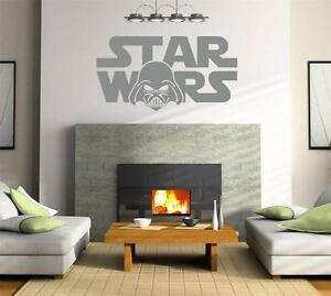Image is loading STAR-WARS-LOGO-Decal-WALL-STICKER-Art-Home- & STAR WARS LOGO Decal WALL STICKER Art Home Decor Silhouette Darth ...