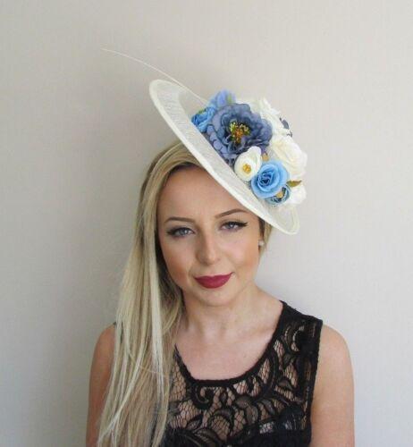 Large Cream Light Blue Feather Flower Sinamay Disc Saucer Hat Fascinator 5676