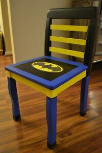 Fabulous Details About Wooden Hand Painted Kids Batman Chair Black And Blue With Batman Logo Machost Co Dining Chair Design Ideas Machostcouk