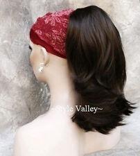 Dark Brown Drawstring  Ponytail Extension Straight/wavy Hair Piece Reversible #4