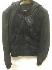 Muubaa Women's Black Leather Hooded Biker Rider Jacket. RRP £345. UK 10. M1573.