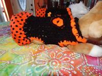 Dog Apparel Black Dress With Orange Polka-dot Skirt Big Bow Small