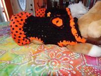 Dog Apparel Black Dress With Orange Polka-dot Skirt Big Bow Small