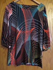 Tribal-women-039-s-size-medium-black-dress-shirt-colorful-design-3-4-slv-stretchy