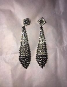 Diamante-Prom-Ball-Party-Silver-Black-Earrings