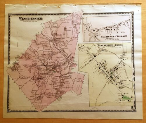Original Antique 1870 Map WESTMINSTER Wachusett Village MA Massachusetts BEERS