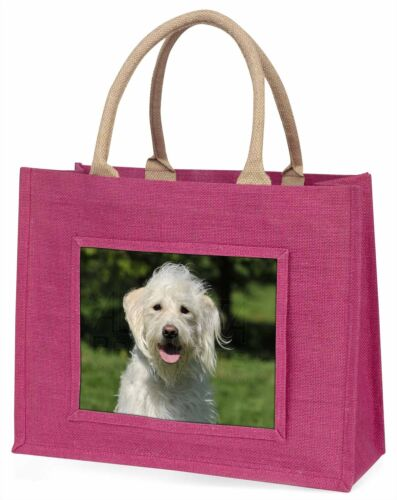 White Labradoodle Dog Large Pink Shopping Bag Christmas Present Idea, ADLD3BLP
